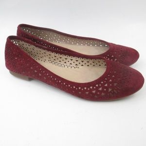 Vince Camuto Red Suede Round Toe Ballet Flats